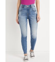 maurices womens jeans cool comfort pull on super high rise jegging blue denim