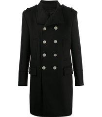 balmain double-breasted mid-length coat - black