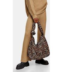 considered leopard print knitted nylon hobo bag - true leopard