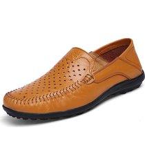 scarpe da uomo in pelle sfoderabili con cinturino a foro largo da uomo