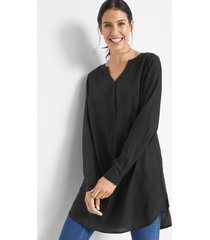 lange blouse met henley kraag