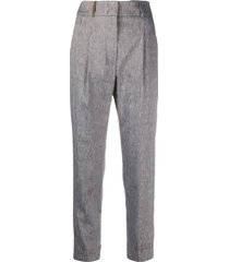 peserico textured side stud tailored trousers - grey