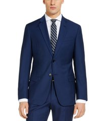 ax armani exchange men's slim-fit high blue pindot wool suit jacket