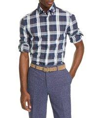 men's brunello cucinelli slim fit madras plaid button-down shirt, size large - blue