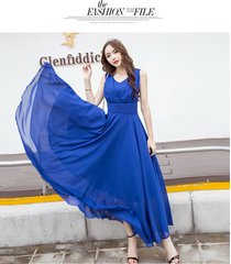 pf253 sexy deep v sleeveless chiffon swing dress  size s-xl, navy blue