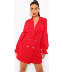 blazer jurk met geplooide mouwen, red