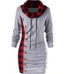 plaid drawstring cowl neck tunic sweatshirt dress