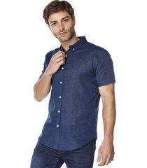 camisa lino navy corona