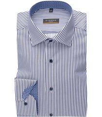 gestreept overhemd eterna slim fit blauw wit