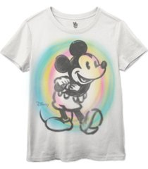 junk food women's cotton mickey-mouse spray-paint graphic t-shirt