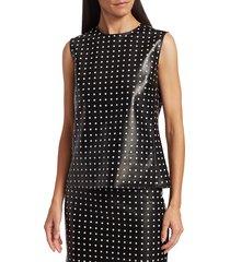 akris punto women's sleeveless leather polka dot top - black white - size 16