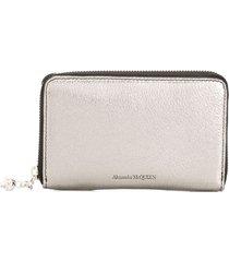 alexander mcqueen metallic zip around wallet - silver