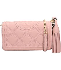 tory burch wallet shoulder bag in rose-pink leather