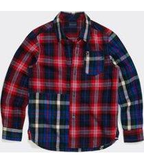 tommy hilfiger boy's adaptive plaid shirt peacoat/ multi - xl