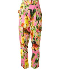 msgm floral-print buckle-strap trousers - multicolour