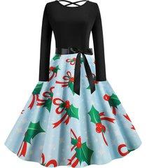 lattice snowman snowflake berry print christmas dress