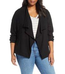 plus size women's caslon drape collar knit blazer, size 3x - black