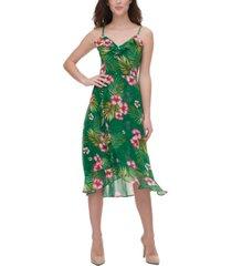 kensie tropical-print midi dress