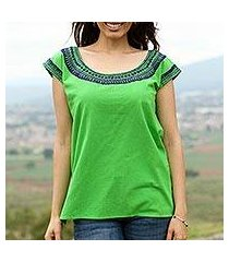 cotton blouse, 'spring green fields' (mexico)