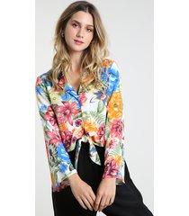 camisa feminina estampada floral com nó manga longa off white