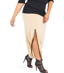 plus size women's poetic justice kandi zip slit maxi skirt