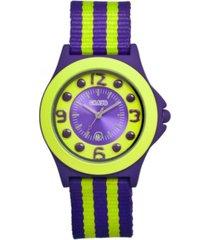crayo unisex carnival purple, lime nylon strap watch 39mm
