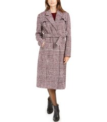 cole haan signature maxi plaid belted coat
