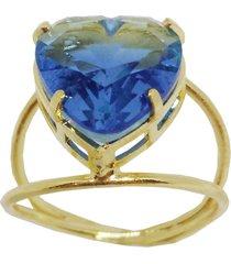 anel kumbayá joias coração azul dourado