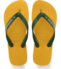 sandalias chanclas havaianas para hombre amarillo brasil logo