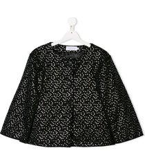 señorita lemoniez teen dot print jacket - black