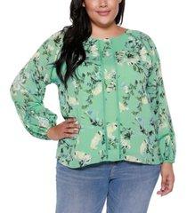 belldini black label plus size floral long blouson sleeve top