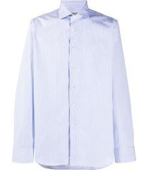 canali pointed collar cotton shirt - blue