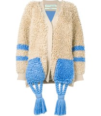 off-white tassel detail cardi-coat - neutrals