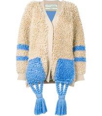 off-white tassel detail cardi-coat - neutrals