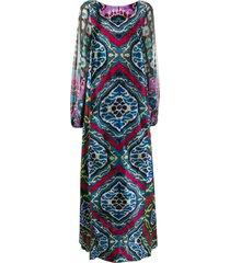 afroditi hera carpet-print velvet and chiffon gown - black