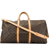 louis vuitton 2000 keepall 60 bandouliere travel bag - brown