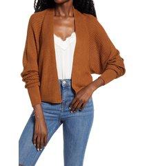 women's bp. dolman waffle cardigan, size x-large - brown