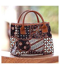 leather batik handbag, 'truntum starlight' (indonesia)