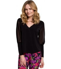 blouse makover k066 chiffon blouse - zwart