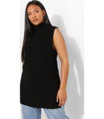 plus gebreid long line hemd, black