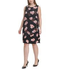 tommy hilfiger plus size sheer-overlay shift dress