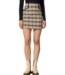 women's sandro woven plaid skirt, size 6 us - blue