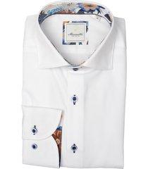 bos bright blue overhemd wit katoen mf 21.20sh029.5/004