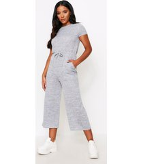 melange knit crew neck jumpsuit, grey