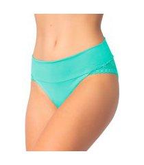 1 calcinha cós duplo renda lingerie feminina sensual verde claro