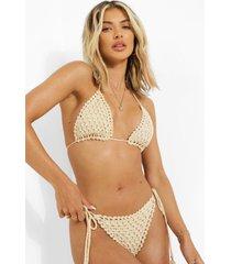 gehaakte driehoekige bikini top, stone