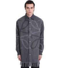 loewe anagram blanket oversize shirt in grey wool