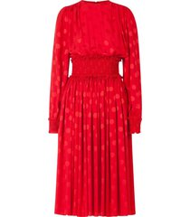 dolce & gabbana shirred-panel flocked dress