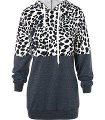 leopard print drawstring color block hoodie