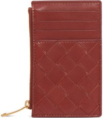 women's bottega veneta intrecciato leather card case - red